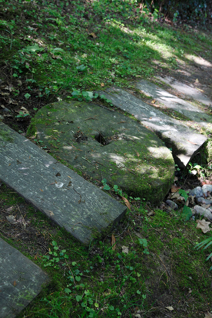 An old mill stone bought by mother, forms a stepping stone across the stream.